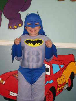 Boy in Batman costume for the office of Orthodontist and Pediatric Dentist Dr. Steven Marcello in Thibodaux, LA
